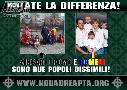 Afis in Italia: Rromii si romanii sunt doua popoare diferite!